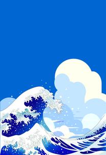 浮世絵の大波と青空と夏の雲のイラスト素材 [FYI04875298]