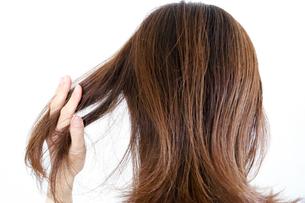 髪を触る女性の写真素材 [FYI04875307]