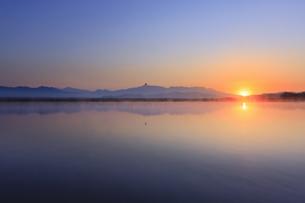 舌喰池と朝日と烏帽子岳を横切るアオサギの写真素材 [FYI04875449]