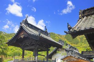 満泉寺の鐘楼と葛尾城跡遠望の写真素材 [FYI04875523]