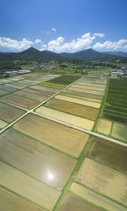 八木沢上空から望む塩田平の田園と夫神岳と女神岳の写真素材 [FYI04875636]