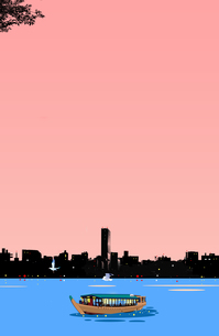 夕暮れに浮かぶ屋形船と街のシルエットのイラスト素材 [FYI04876146]