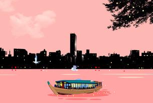 日暮れに屋形船が川に浮かぶ風景のイラスト素材 [FYI04876757]