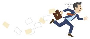 書類を落としながら走るビジネスマンのイラスト素材 [FYI04877082]