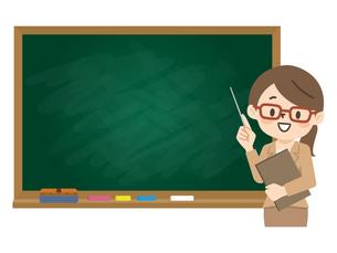 授業を行う女性講師のイラスト素材 [FYI04877092]