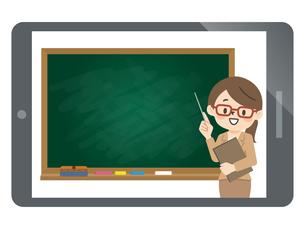 オンライン授業を行う女性講師のイラスト素材 [FYI04877095]