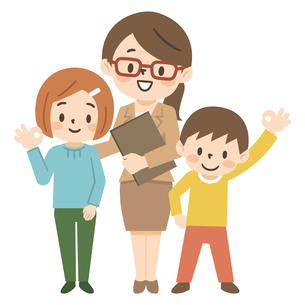 塾講師と子供たちのイラスト素材 [FYI04877107]