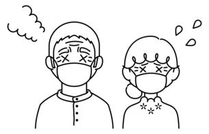 マスクをして暑がっている高齢者【おじいさん,おばあさん】のイラスト素材 [FYI04877958]