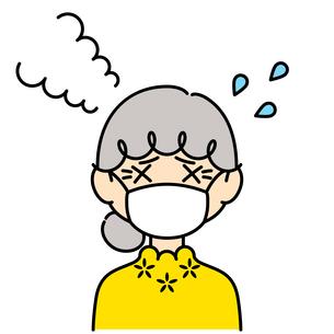 マスクをして暑がっている女性【高齢者,カラー】のイラスト素材 [FYI04877961]