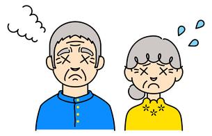 困った表情の高齢者のカラーイラスト【おじいさん,おばあさん】のイラスト素材 [FYI04877964]