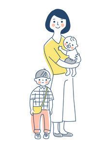 家族 赤ちゃんを抱っこしているママと男の子 全身のイラスト素材 [FYI04878256]