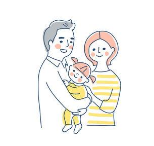 家族 赤ちゃんを抱っこするパパとママ 上半身のイラスト素材 [FYI04878258]
