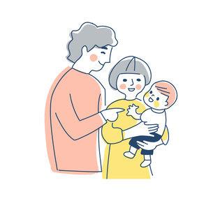 家族 赤ちゃんを抱っこするママとパパ 上半身のイラスト素材 [FYI04878259]