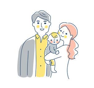 家族 赤ちゃんを抱っこするママとパパ 上半身のイラスト素材 [FYI04878260]