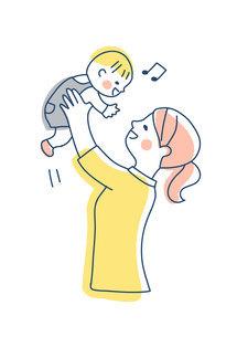 高い高いをして赤ちゃんをあやすママのイラスト素材 [FYI04878262]