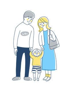 手を繋いでいる3人家族のイラスト素材 [FYI04878264]