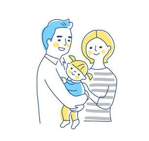 家族 赤ちゃんを抱っこするパパとママ 上半身のイラスト素材 [FYI04878268]