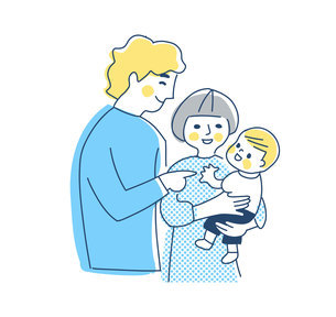 家族 赤ちゃんを抱っこするママとパパ 上半身のイラスト素材 [FYI04878269]