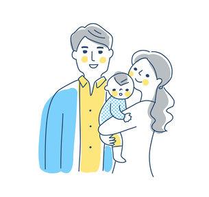 家族 赤ちゃんを抱っこするママとパパ 上半身のイラスト素材 [FYI04878270]