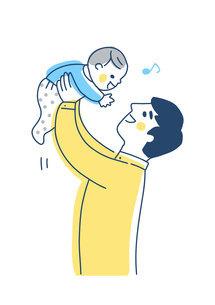 高い高いをして赤ちゃんをあやすパパのイラスト素材 [FYI04878271]