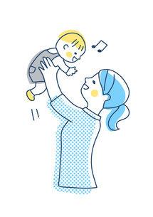 高い高いをして赤ちゃんをあやすママのイラスト素材 [FYI04878272]