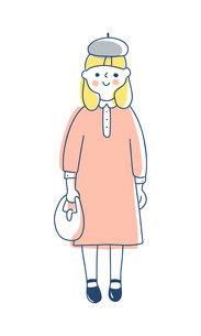 ワンピースを着た女の子のイラスト素材 [FYI04878424]