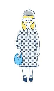 ワンピースを着た女の子のイラスト素材 [FYI04878425]