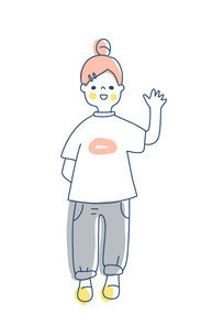 笑顔で手を振っているお団子ヘアの女の子のイラスト素材 [FYI04878427]
