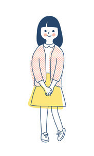 笑顔で立っている女の子のイラスト素材 [FYI04878429]