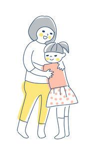 抱き合っている2人の女の子のイラスト素材 [FYI04878431]