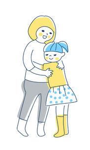抱き合っている2人の女の子のイラスト素材 [FYI04878432]