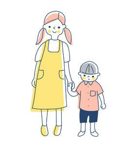 手を繋いで立っているお姉ちゃんと弟のイラスト素材 [FYI04878433]