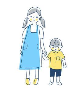 手を繋いで立っているお姉ちゃんと弟のイラスト素材 [FYI04878435]
