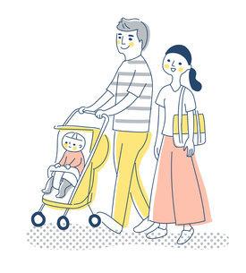 赤ちゃんをベビーカーに乗せて歩く夫婦のイラスト素材 [FYI04878436]