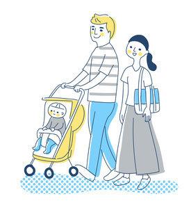 赤ちゃんをベビーカーに乗せて歩く夫婦のイラスト素材 [FYI04878437]
