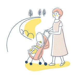 ベビーカーでお散歩する赤ちゃんとママのイラスト素材 [FYI04878438]