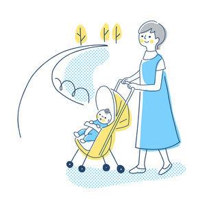 ベビーカーでお散歩する赤ちゃんとママのイラスト素材 [FYI04878439]