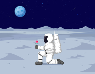 Astronaut landing a planetのイラスト素材 [FYI04878673]
