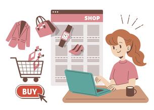 ネットショッピングをする女性 単色のイラスト素材 [FYI04878688]