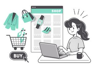 ネットショッピングをする女性 単色のイラスト素材 [FYI04878689]