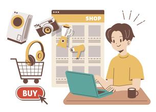 ネットショッピングをする男性のイラスト素材 [FYI04878690]