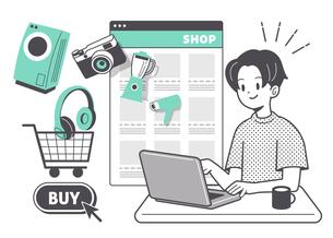 ネットショッピングをする男性 単色のイラスト素材 [FYI04878691]
