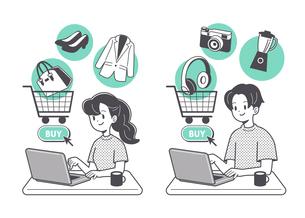 ネットショッピングをする人物 単色のイラスト素材 [FYI04878693]