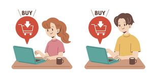 オンラインで購入する人物のイラスト素材 [FYI04878694]