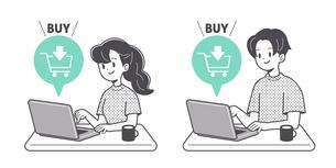 オンラインで購入する人物 単色のイラスト素材 [FYI04878695]