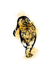 手描き水彩画の虎のイラスト素材 [FYI04879142]