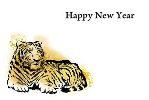 水彩画の虎の年賀状 横位置のイラスト素材 [FYI04879147]