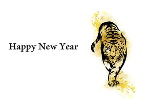 水彩画の虎の年賀状 横位置のイラスト素材 [FYI04879153]