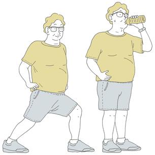 準備運動と水分補給する男のイラスト素材 [FYI04879901]
