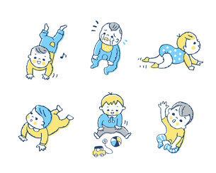 赤ちゃんのさまざまポーズ セットのイラスト素材 [FYI04879941]